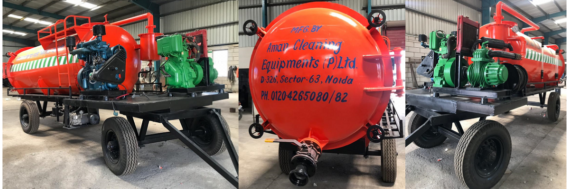 Tractor mounted sewer suction cum jetting machine